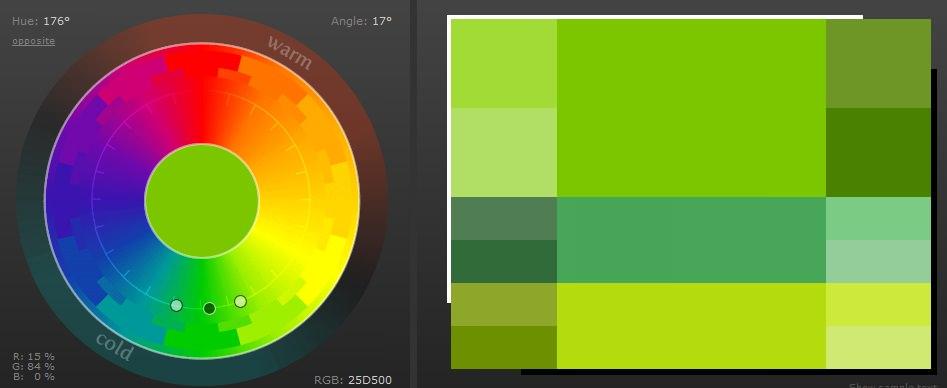 2-3 цвета близлежащие на ЦК