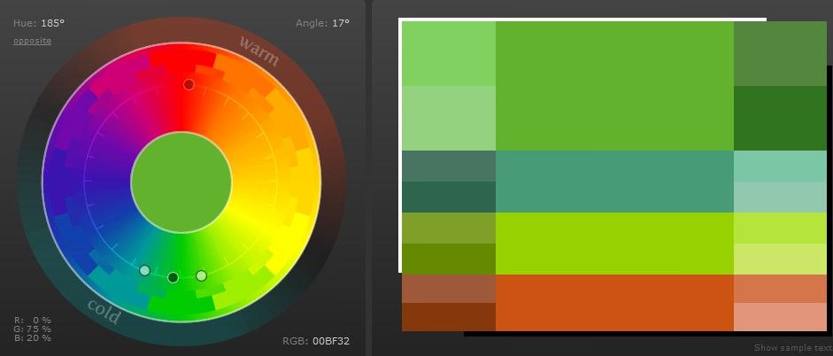 2-3 цвета близлежащие на ЦК и 1цвет