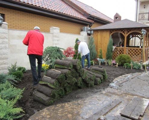 Подготовка почвы под укладку газона студентами